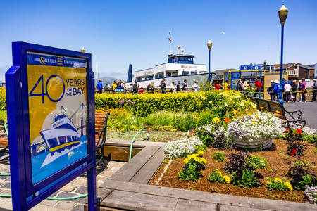 June 3, 2019 San Francisco  CA  USA -  Blue & Gold Fleet, provider of bay ferry service and bay cruises operating in San Francisco bay, celebrating 40 years of operations