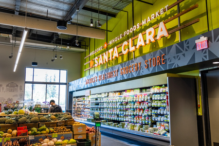 June 3, 2019 Santa Clara  CA  USA - The fruits and vegetables section at Whole Foods, south San Francisco bay area Redakční