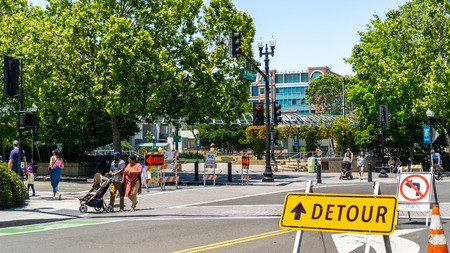 June 1, 2019 Sunnyvale  CA  USA - Streets closed in downtown Sunnyvale for the Art, Wine & Music Festival