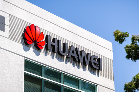 June 3, 2019 Santa Clara  CA  USA - Huawei logo at their offices in Silicon Valley; Huawei is a Chinese technology company that provides telecommunications equipment and sells consumer electronics