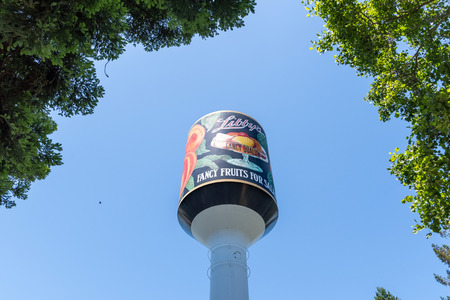 June 1, 2019 Sunnyvale  CA  USA - Libbys Water Tower, the only thing remaining from the once largest cannery in the world; it is now standing in the middle of a business park in Silicon Valley Redakční