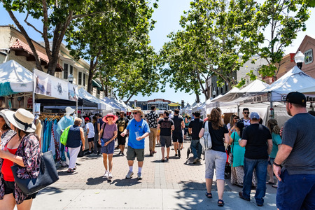 June 2, 2019 Sunnyvale  CA  USA - People participating at the Art, Wine & Music Festival in downtown Sunnyvale, South San Francisco bay area