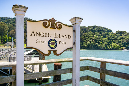 June 3, 2019 San Francisco  CA  USA - Angel Island State Park sign at the arrival to the island