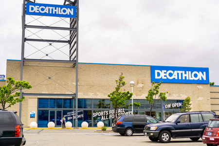 May 26, 2019 Emeryville  CA  USA - Exterior view of Decathlon Sporting Goods flagship store, the first open in the San Francisco bay area, near Oakland