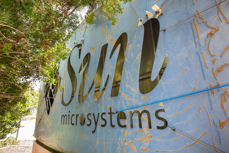 May 26, 2019 Menlo Park / CA / USA - Sun Microsystems logo on the back of the Facebook Thumbs Up sign; Facebook took over their former offices in Silicon Valley, San Francisco bay area
