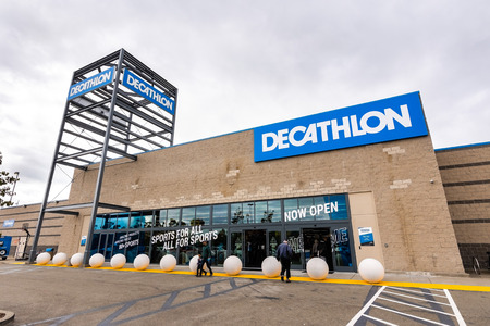 May 26, 2019 Emeryville / CA / USA - Exterior view of Decathlon Sporting Goods flagship store, the first open in the San Francisco bay area, near Oakland