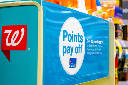 June 1, 2019 Sunnyvale  CA  USA - Walgreens balance rewards card ad and logo inside one of the stores