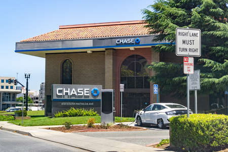 June 1, 2019 Sunnyvale  CA  USA - Chase Bank branch close to downtown Sunnyvale; EV Charging Station for bank patrons only located in front of the bank entrance