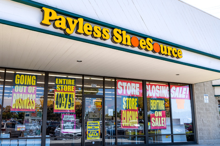 June 1, 2019 Sunnyvale  CA  USA - Payless Shoesource store with Store Closing, Entire store 40%-75% off, Everything on sale and Going out of business signs displayed on the windows Editorial