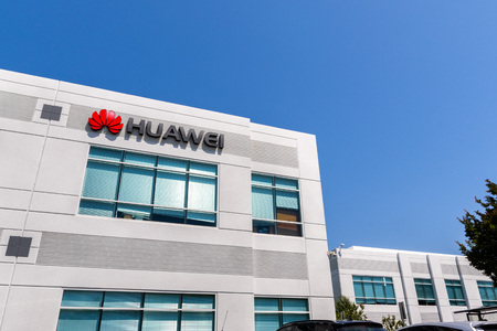 June 3, 2019 Santa Clara  CA  USA - Huawei office building in Silicon Valley; Huawei is a Chinese technology company that provides telecommunications equipment and sells consumer electronics
