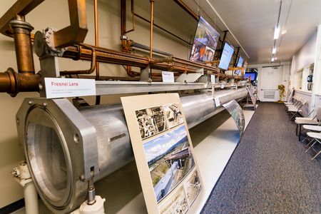 """June 21, 2019 Menlo Park / CA / USA - SLAC National Accelerator Laboratory's """"Klystron Gallery"""" visitor display of an unused part of the underground beam line and stabilization tube"""