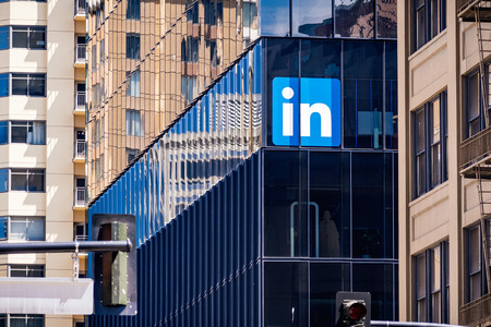 June 30, 2019 San Francisco / CA / USA - Large LinkedIn offices in downtown San Francisco; LinkedIn is an American business and employment-oriented service and it owned by Microsoft