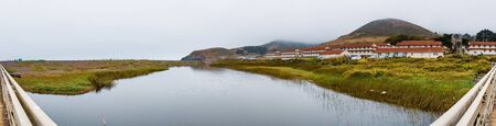 Rodeo Lagoon and Fort Cronkhite on the Pacific Ocean coastline, on a cloudy day, Marin Headlands, Marin County, California