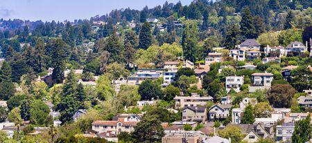 Aerial view of residential neighborhood built on a hill, Berkeley, San Francisco bay, California; Stock fotó