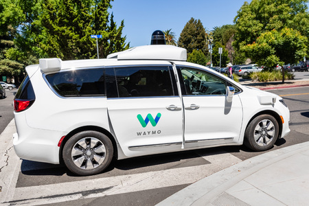 July 16, 2019 Mountain View / CA / USA - Waymo self driving car performing tests on a street near Google's offices, Silicon Valley; Waymo, a subsidiary of Alphabet, is developing an autonomous car
