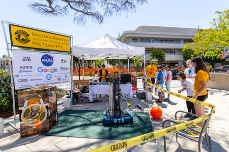 July 16, 2019 Mountain View / CA / USA - Spartan Robotics FRC Team 971 a high school robotics team for current Mountain View High School (MVHS) students participating at the Technology Showcase event