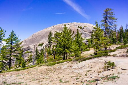 View towards Sentinel dome from the hiking trail, Yosemite National Park, Sierra Nevada mountains, California