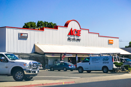 June 26, 2019 Oakdale  CA  USA - ACE Hardware store entrance; ACE Hardware is the worlds largest hardware retail cooperative