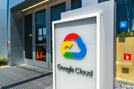 July 19, 2019 Sunnyvale / CA / USA - Close up of Google Cloud sign displayed at the entrance to their headquarters in Silicon Valley; South San Francisco bay area