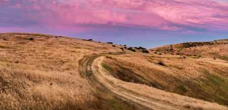 Sunset view of hiking trail through golden hills in Santa Cruz mountains; pink and red colored clouds covering the sky;  San Francisco bay area, California Banco de Imagens