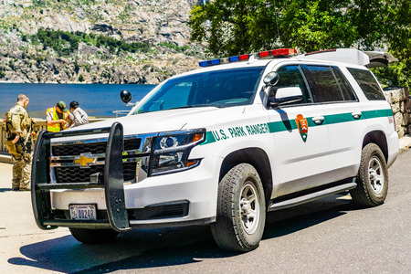 June 26, 2019 Yosemite National Park  CA  USA - US Park Ranger vehicle parked at Hetch Hetchy reservoir during a training  program