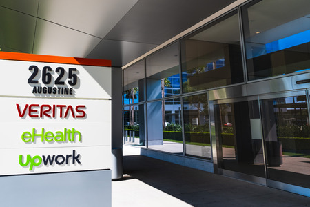 August 1, 2019 Santa Clara  CA  USA - Upwork (freelancing platform), EHealth (insurance marketplace) and Veritas (data mangement) headquarters located in an office park in Silicon Valley; Editorial