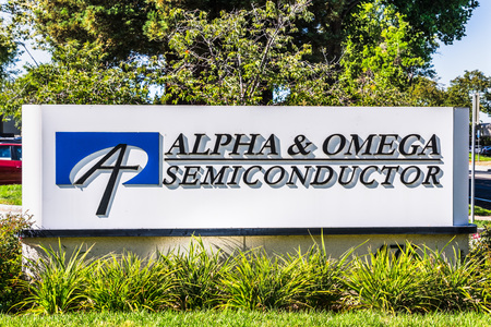 August 1, 2019 Sunnyvale  CA  USA - Alpha&Omega Semiconductor (AOS) sign displayed in front of their headquarters in Silicon Valley; Editorial
