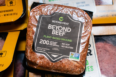 July 31, 2019 Cupertino  CA  USA - Beyond Beef Plant-Based ground meat produced by Beyond Meat and sold in a grocery store in San Francisco Bay Area