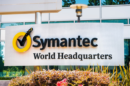 August 1, 2019 Mountain View  CA  USA - Symantec sign displayed at their Symantec Corporation World Headquarters in Silicon Valley, south San Francisco bay area Editorial