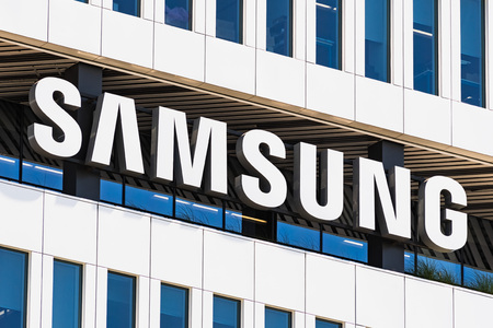 August 1, 2019 San Jose  CA  USA - Samsung Sign displayed on the facade of the modern HQ of Samsung Electronics Device Solutions America in Silicon Valley; subsidiary of Samsung Electronics, Ltd