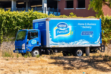 August 1, 2019 San Jose  CA  USA - Nestle Pure Life truck making deliveries of purified (filtered) water in south San Francisco bay area