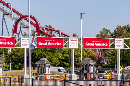 August 1, 2019 Santa Clara  CA  USA - Entrance area of Californias Great America amusement park located in South San Francisco Bay area; owned and operated by Cedar Fair Editorial