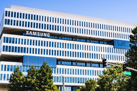 August 1, 2019 San Jose  CA  USA - The modern HQ of Samsung Electronics Device Solutions America and Samsung Semiconductor Inc, located in Silicon Valley; subsidiary of Samsung Electronics, Ltd