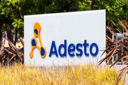 July 30, 2019 Santa Clara  CA  USA - Adesto Technologies sign in front of their HQ in Silicon Valley; The company provides application-specific semiconductors and embedded systems for the IOT Editorial
