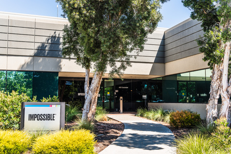 August 1, 2019 Redwood City  CA  USA - Impossible Foods corporate headquarters in Silicon Valley; Impossible Foods Inc. is a company that develops plant-based substitutes for meat and dairy