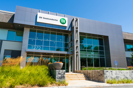 August 1, 2019 Sunnyvale  CA  USA - ON Semiconductor offices in Silicon Valley; ON Semiconductor is a semiconductors supplier and runs a network of manufacturing, design facilities and sales offices