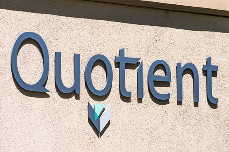 August 1, 2019 Sunnyvale  CA  USA - Quotient Limited (QTNT) sign at their offices in Silicon Valley; Quotient operates in the health care industry in the commercial-stage diagnostics area Editorial