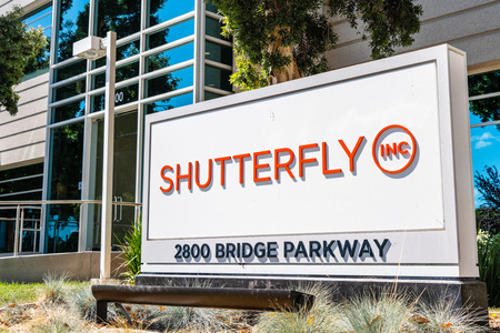 August 1, 2019 Redwood City  CA  USA - Shutterfly sign at their HQ located in Silicon Valley; Shutterfly, Inc. is an American Internet-based company specializing in image-publishing services Editorial
