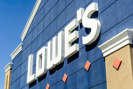 July 12, 2019 Sunnyvale  CA  USA - Lowe's Logo displayed above one of their locations in South San Francisco bay area
