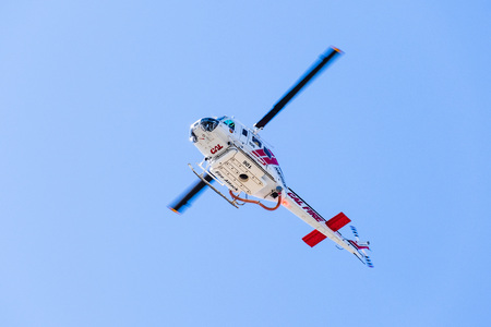 August 1, 2019 Santa Clara  CA  USA - Cal Fire (California Department of Forestry and Fire Protection) helicopter responding to an emergency call in South San Francisco Bay Area Editorial