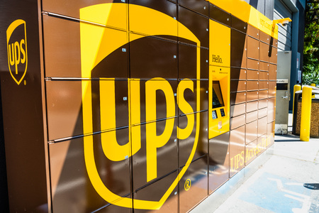 July 30, 2019 Menlo park  CA  USA - UPS locker available 24 hours for package pick-up in San Francisco bay area; UPS has expanded the number of locker pickup locations to 300 in 2016 in the USA Editorial