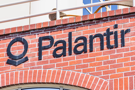 July 30, 2019 Palo Alto  CA  USA - Palantir logo displayed at their HQ in Silicon Valley; Palantir Technologies is a private American software company that specializes in big data analytics Editorial