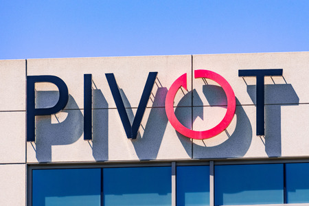 July 29, 2019 Santa Clara  CA  USA - Pivot Interiors sign at their corporate offices located in Silicon Valley; Pivot offers office design and furnishing services Editorial