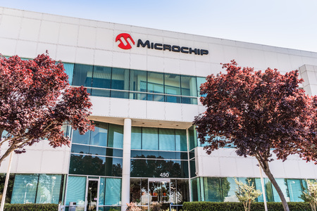 August 1, 2019 San Jose / CA / USA - Microchip headquarters in Silicon Valley; Microchip Technology Inc. manufactures microcontrollers, mixed-signal, analog and Flash-IP integrated circuits Editorial