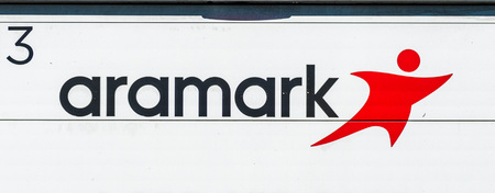 August 1, 2019 Sunnyvale  CA  USA - Aramark sign displayed on one of vehicles making a delivery; Aramark Corporation is an American food service, facilities, and uniform services provider Editorial