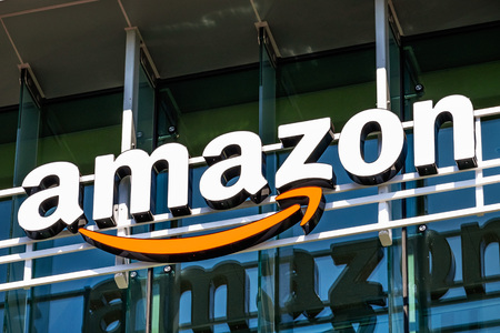 July 26, 2019 Palo Alto  CA  USA - Amazon logo on the facade of one of their office buildings located in Silicon Valley, San Francisco bay area Editorial