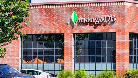 July 30, 2019 Palo Alto  CA  USA - MongoDB HQ in Silicon Valley; MongoDB Inc. is an American software company that develops and provides commercial support for the open source MongoDB Editorial