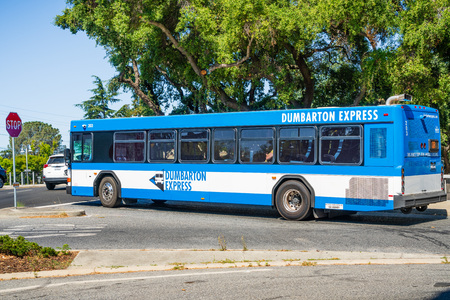 July 26, 2019 Palo Alto  CA  USA - Dumbarton Express bus taking commuters from the Alameda County to the San Mateo and Santa Clara counties, via Dumbarton Bridge; San Francisco bay area Editorial