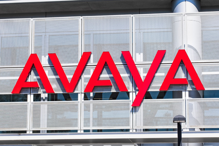 August 1, 2019 Santa Clara  CA  USA - Avaya sign displayed at their HQ in Silicon Valley;  Avaya Inc is an American multinational technology company that specializes in business communications Editorial