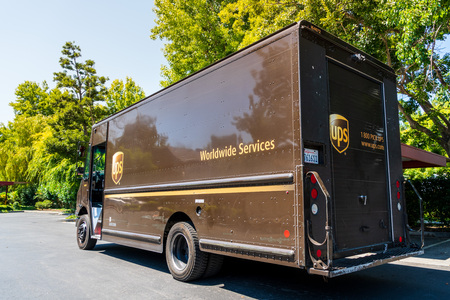 July 22, 2019 Sunnyvale  CA  USA - UPS (United Parcel Service) vehicle making deliveries in South San Francisco Bay area